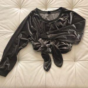 Trendy Oversized Side Tie Crop Velvet Sweater